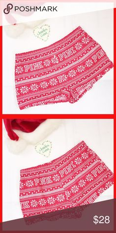 ••Victoria Secret PINK•• Holiday pajama shorts Welcome beautiful Posh woman! 😘💞 Thank you for checking out my closet! Please read below if you are interested in this item:  🛍 Bundles available upon request for a discounted rate depending on how many items   🚭🐶🐱Smoke & pet free household  📬I ship Monday-Friday same/next day, unless it's a national holiday  💯All items are 100% AUTHENTIC   ❌Some items are already priced at lowest. Do not use the offer button to lowball me. It is…