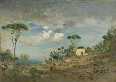 ~ Ivan Pavlovich Pokhitonov (Russia 1850-1923) Hillside Near Vesuvius, oil on panel