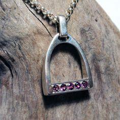 Silver Stirrup Necklace set with 5 Garnets Pearl Pendant, Diamond Pendant, Necklace Set, Pendant Necklace, Equestrian Jewelry, Black Diamond, Garnet, Pendants, Jewellery