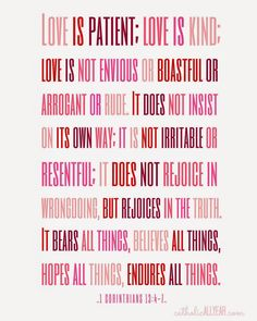 """Free Printable Catholic Valentines """"Love is patient, love is kind . """" 1 Corinthians (on white) // Catholic All Year Calm Quotes, Valentine's Day Quotes, Bible Quotes, Bible Verses, Scripture Art, Saint Valentine, Valentines, Catholic All Year, Printable Prayers"""
