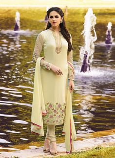 Beige Color with Crystals Stones Work Astounding Unstitched Salwar Kameez