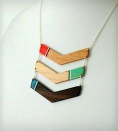 wood chevron necklace