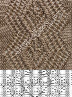 узор 121 ажурный ромб | каталог вязаных спицами узоров
