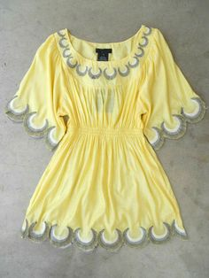 Embroidered Jaune Boheme Tunic : butter yellow and gray