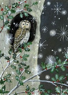 'Holly and Tawny Owl' (artist unknown)