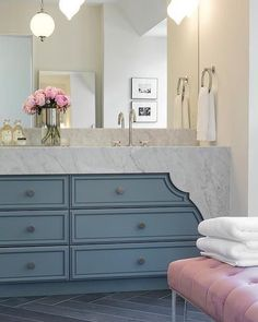 This vanity inspo has got my head swirling  . #inspo #designinspo #mastervanity #vanity #softlines #softcolors #blue #materials #marble #carrara #carraramarble #texture #pattern #interiordesigner #interiordesign #residentialdesign #residential #bathroom #bathroomdesign #vanitymirror #vanitywall #vanitydesign #designenvy #envygram
