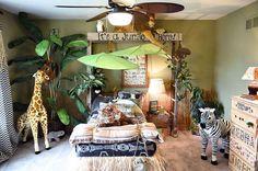 jungle themed bedroom, bedroom ideas, home decor, repurposing upcycling, wall decor