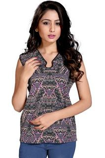 Online Shopping: #Printe #Georgete #Multicolor #Top #onlineshoping ... Western Wear, Tunic Tops, Blouse, Womens Fashion, Casual, Prints, Model, How To Wear, Stuff To Buy