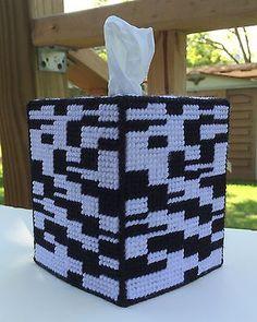 Black & White Tissue Cover handmade Boutique size acrylic yarn