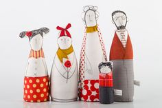 home decor -  family portrait, soft sculpture parents & three children in red gray ,yellow , stripes and polka dots -timohandmade doll on Etsy, $162.00
