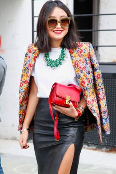 Color additions to a black-and-white outfit