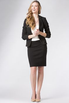Buy Top Rated Women's Ponte Knit Stretch Pull-on Pencil Skirts from Fishers Finery. Durable Ponte Fabric designed to wear to Work in Multiple Colors & Sizes Office Fashion Women, Work Fashion, Work Attire Women, Immortelle, Pencil Skirt Black, Knit Skirt, Business Attire, Work Outfits, Zippers