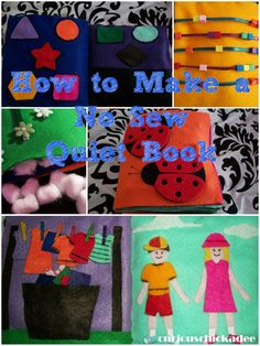 How to Make a No Sew Quiet Book. Pictures, Tips, Ideas and Things to Buy. Making a Quiet Book can be very easy!