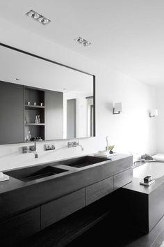 Bathroom - Residence WD in Belgium by vlj-architecten Double Vanity, Bathroom Lighting, New Homes, Mirror, House, Inspiration, Furniture, Home Decor, Belgium