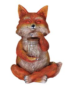 Solar LED Firefly Fox Statue by Exhart #zulily #zulilyfinds