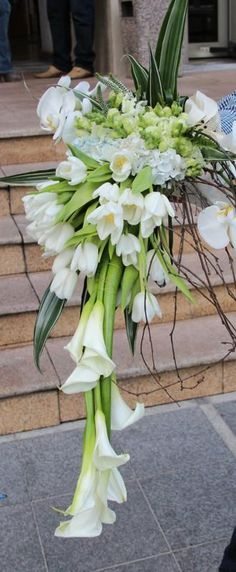Trailing bouquet, Calla Lilies and Tulips