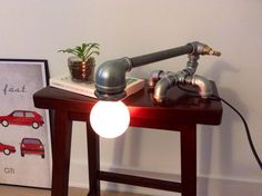 Vintage Industrial Style Lighting -- Water Pipe Table Lamp / Decoration Reading Lamp (Short Neck)