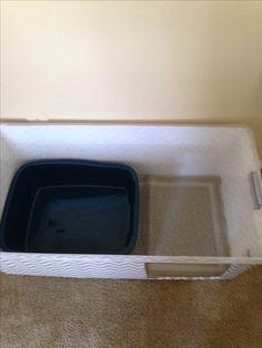 Inside litter box enclosure. Pan and litter mat all fit inside.