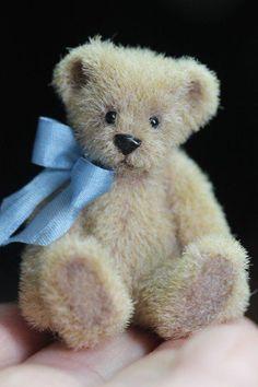 "So tiny -OOAK 1 5/8 "" Miniature Doll House Mohair Teddy Bear Artist Kimbearlys Originals #Kimbearlys"