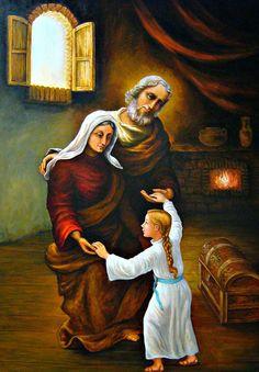San Joaquin y Santa Ana. Catholic Art, Catholic Saints, Religious Art, Blessed Mother Mary, Blessed Virgin Mary, Saint Joachim, Happy Feast Day, Rennaissance Art, Novena Prayers