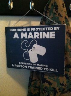 Hey, I found this really awesome Etsy listing at https://www.etsy.com/listing/123068146/12x16-home-is-protected-by-a-marine
