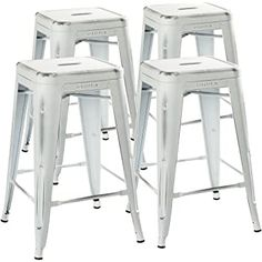 UrbanMod Stool Set of 4 by Distressed White Rustic Bar Stools -Counter Height Stools Capacity Metal Stool Chair - Stackable Indoor/Outdoor Bar Stools for Kitchen Counter and Island Rustic Bar Stools, Vintage Bar Stools, Outdoor Bar Stools, White Bar Stools, Industrial Bar Stools, Cool Bar Stools, Modern Bar Stools, Kitchen Counter Chairs, Metal Stool