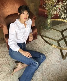 Jeanne Damas is wearing the Michelle blouse Parisian Style Fashion, French Fashion, Girl Fashion, Fashion Looks, Fashion Tips, French Girl Style, French Girls, French Chic, Parisienne Chic