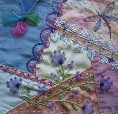 I ❤ crazy quilting & embroidery . . .  Summer DYB for Beryl in CQI. ~By Margreet from Holland
