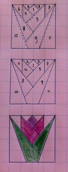 How to draw a tulip quilt pattern. http://singers-and-featherweights.blogspot.nl/