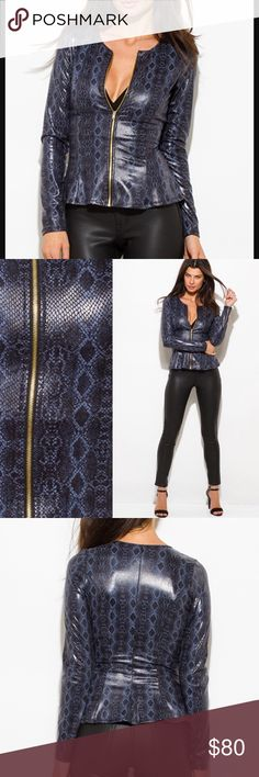 💐Gorgeous Vegan Faux Leather Jacket! More Stylish than the real thing! Navy blue vegan faux leather jacket, snakeskin print, spandex blend. Pair it with the vegan leather pants in my boutique. This garment is true to size. MEASUREMENTS:                                          Small (Fits 2 -4), Medium (Fits 6 - 8), Large (Fits 10 - 12) Jackets & Coats