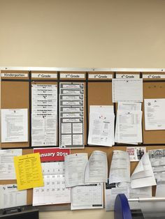 Grade level newsletter board in the workroom.