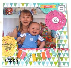 'Happy' layout Amanda Baldwin DT member Kaisercraft using New POP Collection - Wendy Schultz ~ Scrapbook Pages Party Gift Bags, Party Gifts, Scrapbooking Layouts, Scrapbook Pages, It's Your Birthday, Birthday Cards, Pop Stickers, Pop Collection, Clear Stamps