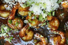 Sticky Ginger Shrimp with Scallion Rice