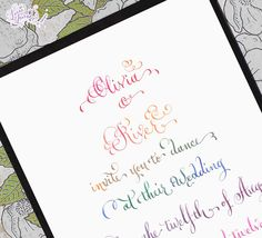 Rainbow Calligraphy Wedding Invitation... Wedding ideas for brides, grooms, parents & planners ... https://itunes.apple.com/us/app/the-gold-wedding-planner/id498112599?ls=1=8 … plus how to organise an entire wedding, without overspending ♥ The Gold Wedding Planner iPhone App ♥