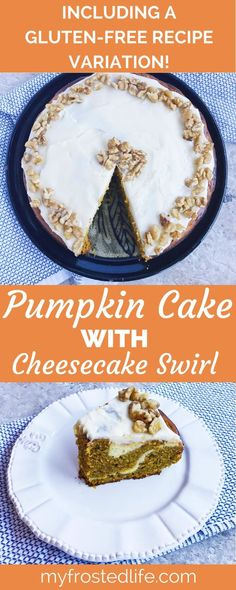 Pumpkin Cake with Cheesecake Swirl – This spiced, moist pumpkin cake is filled with a cheesecake swirl and topped with an easy cream cheese icing. Perfect for a party of Thanksgiving this unique fall treat is great for a crowd or an elegant occasion. This homemade cake is the best pumpkin cake and is the epitome of autumn dessert recipes! Complete with a gluten-free recipe variation, this is a must make dessert recipe this fall!
