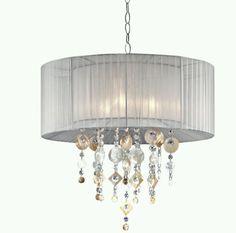 Capiz Shell Chandelier Moon Jewel 21 Inch Light White Ceiling Lamp Chandeliers #OREInternational #Tropical