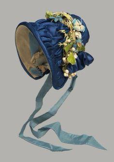 1840, France doll bonnet Historical Costume, Historical Clothing, Antique Clothing, Historical Dress, Blue Ribbon, Velvet Ribbon, Vintage Hats, Vintage Outfits, Vintage Items