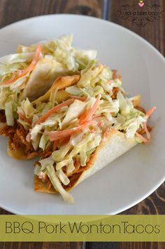 This BBQ pork wonton taco recipe makes a low prep week night meal or a tasty appetizer for a party.