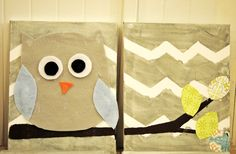 Super Cute fabric owl art completed by our summer camp kids at www.lollipopartlounge.com