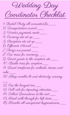 Free Wedding CoordinatorS Checklist Printable  Free Wedding