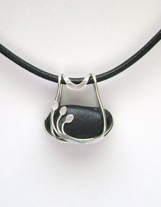 Sea Glass Jewelry - Sterling Caged Rare Black Scottish Sea Glass Necklace