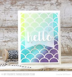 Handmade card from Laurie Willison featuring Hello There, Stitched Jumbo Fishtail Banner STAX, and Dainty Scallop Cover-Up Die-namics #mftstamps