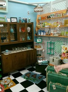 Mods & Ends booth display with Mid Century hutch