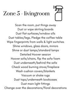 💡 PRINTABLES – ZONE 5 CLEANING/DECLUTTER LIST   DianeDenmark.com Fly Lady Cleaning, Zone Cleaning, Cleaning Caddy, House Cleaning Checklist, Diy Cleaning Products, Cleaning Solutions, Cleaning Hacks, Flylady Zones, Home Management Binder