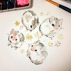 Cute Animal Drawings, Kawaii Drawings, Cute Drawings, Pretty Art, Cute Art, Character Art, Character Design, Posca Art, Hamsters