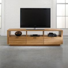 Modern edges gets softer with this entertainment set