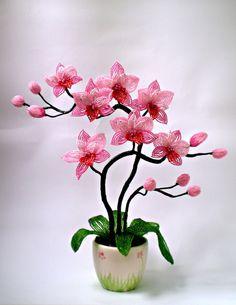 Фото природа, цветы из бисера, орхидея из бисера, лаванда из бисера, лилия из бисера