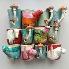 Mugs / SpoonsMurava Ceramics on EtsySee our or – Awesome Craft And Arts Pottery Mugs, Ceramic Pottery, Pottery Art, Ceramic Art, Ceramic Tableware, Clay Projects, Clay Crafts, Arts And Crafts, Paperclay