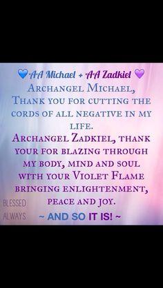 AA Michael and AA Zadkiel prayer, Violet Flame, URBLESSEDALWAYS