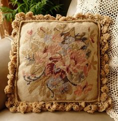 14-VTG-French-Country-Shabby-Farmhouse-Floral-Needlepoint-Pillow-Cushion-Cover